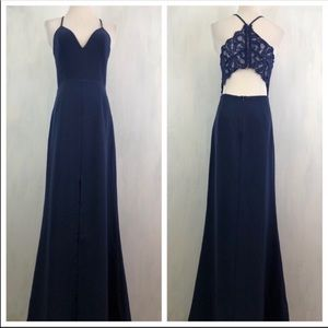 NEW Lovers + Friends Helena x Revolve Navy Gown